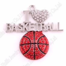 """Новинка 1,""""* 1,3"""" цинк Шипованный со сверкающими кристаллами Красная эмаль 2D I LOVE Баскетбол Спортивные Подвески фанаты любимые ювелирные изделия"""