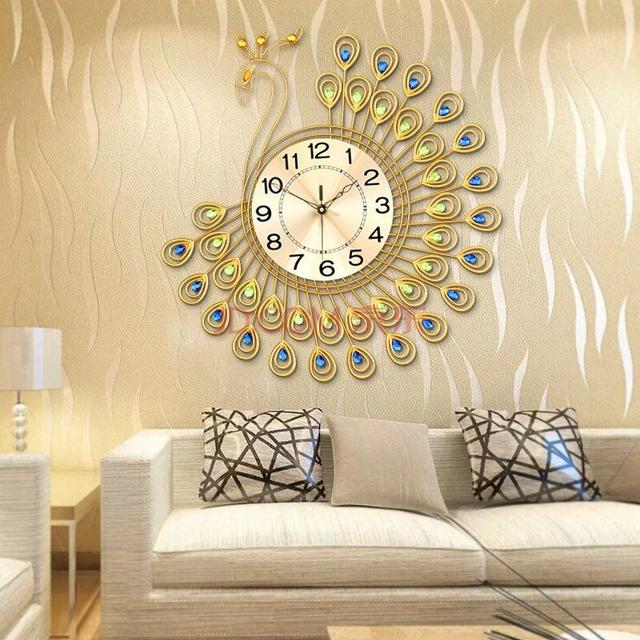 65 CM Große Pfau Wanduhr Modernes Design Wohnzimmer/Schlafzimmer Wand Uhr  Luxus Europa Uhr Wand
