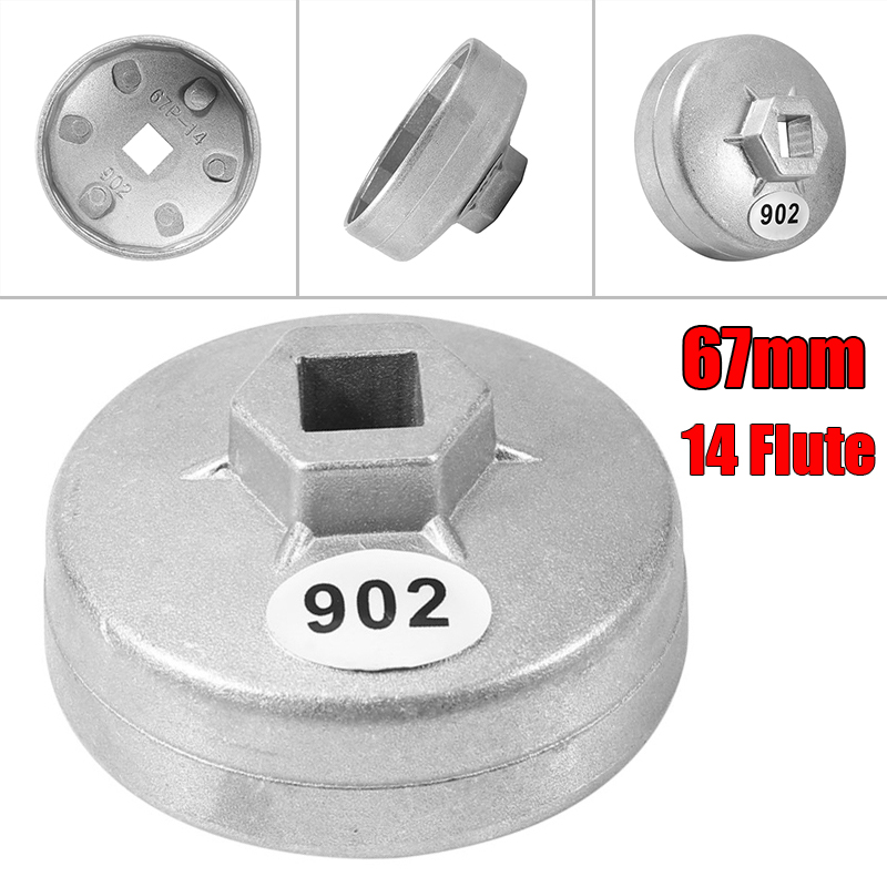 New Cap Type Car Aluminum Alloy Oil Filter Wrench Socket Remover 902(67mm)14 Flute