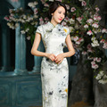 Longo Cheongsam Oriental Dresses Traditional Chinese Qipao with Flowers Trim Slit Side Tang suit Long Cheongsam Vestido De Festa