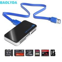 Baأوليدا المصغّر USB قارئ بطاقات 3.0 SD/TF Cardreader USB 3.0 الكل في واحد SD/مايكرو SD/TF/CF/MS فلاش مدمج USB بطاقة محول