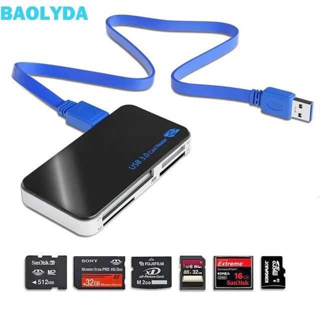 Baolyda מיקרו USB קורא כרטיסי 3.0 SD/TF Cardreader USB 3.0 כל אחד SD/מיקרו SD/ TF/CF/MS קומפקטי פלאש חכם USB כרטיס מתאם
