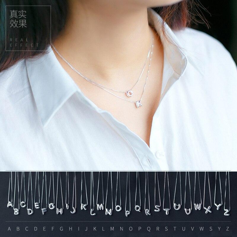 5cb3d32ea 925 Prata Polida AZ 26 Letras Maiúsculas Do Alfabeto Pingente para Colar  jóias (SEM CORRENTE) GTLX505