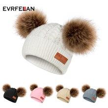 Evrfelan/Милая зимняя детская вязаная шапка; модные вязаные шапки; шапка для мальчиков и девочек с помпонами; Skullies Beanies; шапки; шапка