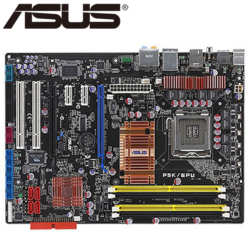Asus P5K EPU Desktop Motherboard P35 Socket LGA 775 Q8200 Q8300 DDR2 8G ATX UEFI BIOS Original Used Mainboard On Sale asus p8h61 m le desktop motherboard h61 socket lga 1155 i3 i5 i7 ddr3 16g uatx uefi bios original used mainboard on sale