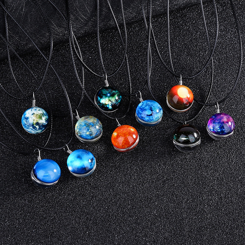 Solar System Planet Crystal Stars Ball Glow In Dark Double Sided Glass Galaxy Black Leather Chain Necklace For Womem Mens Gift
