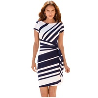 7 Attract Work Dresses Women 2017 Autumn Pencil Red Black Navy White Stripe Knot Sheath Party