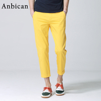 Brand New Men S Fashion Yellow Casual Pants Outdoor Streetwear Ankle Length Zipper Chino Pants Men