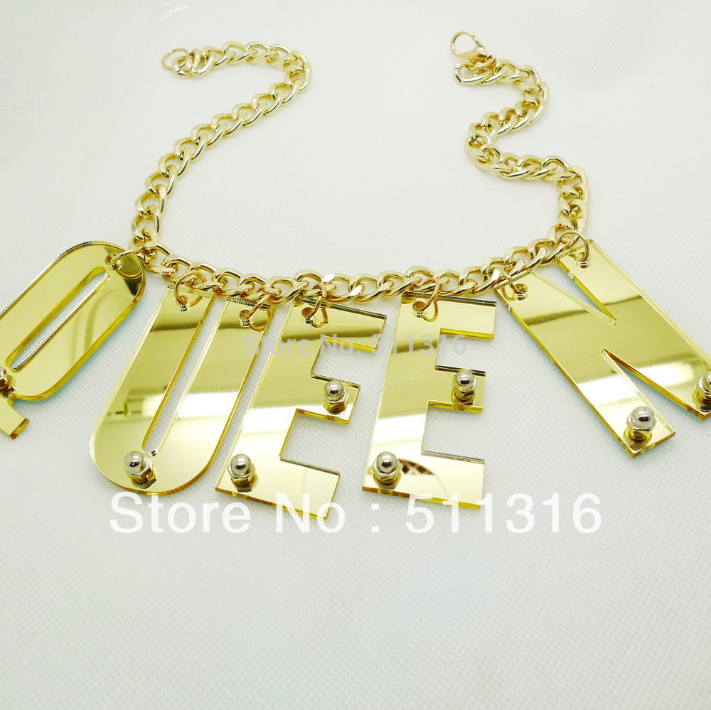 Custom Hiphop Style Large Acrylic Laser Cut Letters Chian Necklace