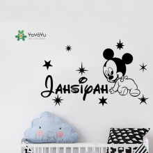 YOYOYU Wall Sticker Mickey Mouse Name Custom Kids Decal Personalised Star Children Interior Mural Removable GY40