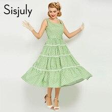 Sisjuly 1950 S винтажные женские платье Зеленый Pin Up Сексуальная Холтер Вечерние платья в стиле элегантные Famale Лето 2018 новые винтажные платья