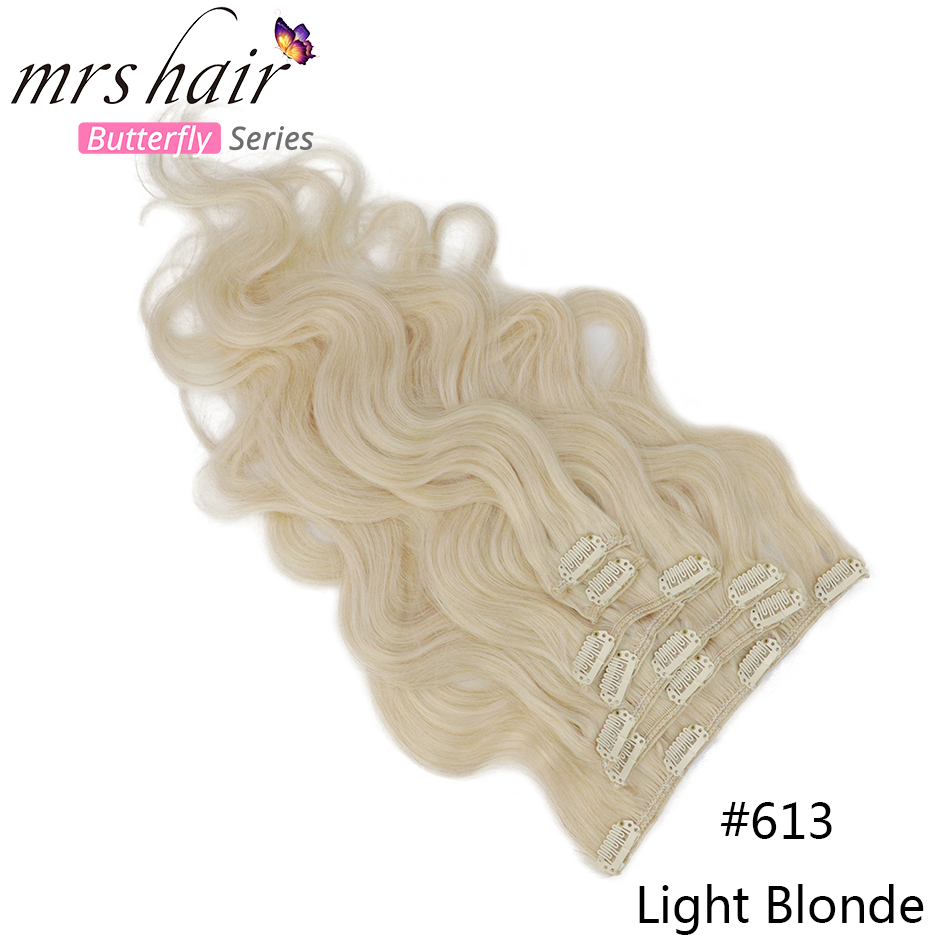 MRS HAIR, объемная волна, 80 г-100 г, человеческие волосы для наращивания на заколках, машинное производство, Remy, человеческие волосы для наращивания на всю голову, натуральные волосы - Цвет: #613