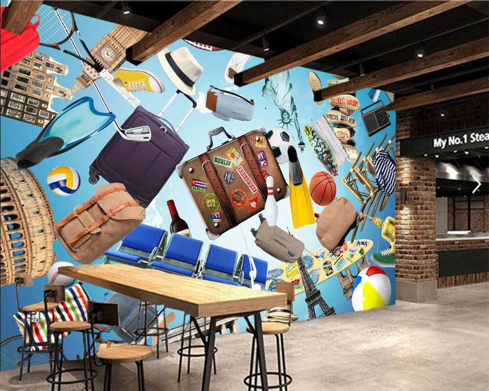 Papel De Parede Radio Suitcase Ball Hat Receiver Cartoon Wallpaper Living Room Bedroom Tv Wall Kids Room Wall Papers Home Decors Wallpapers Aliexpress
