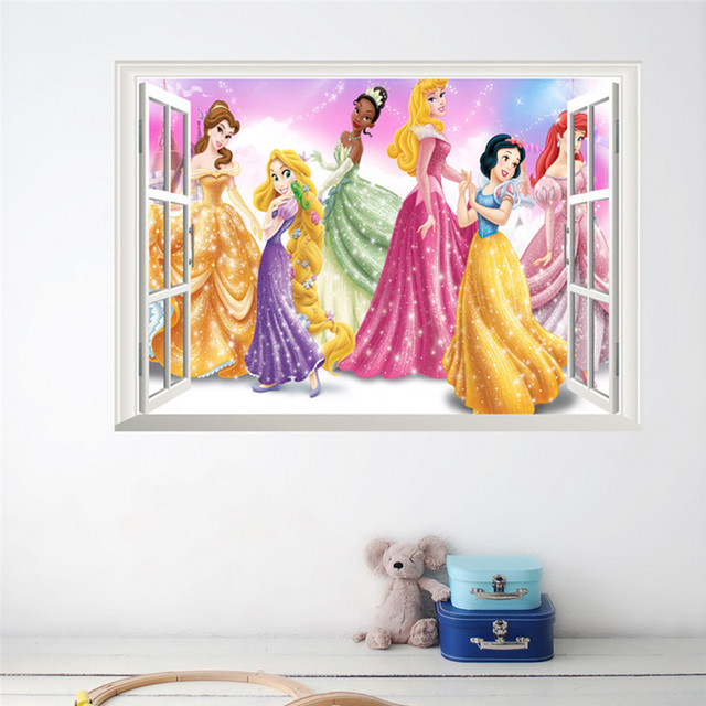 Cartoon Princess Wall Stickers For Kids Rooms Children PVC Wall Decals Snow  Girl 3d Kids Bedroom