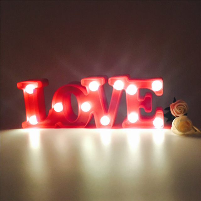 Marquee Letters Lights Led Word Wall Lamp Love Alphabet Letter Sign Nightlights Up Illuminated Home Decor