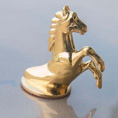 3D Zinc Alloy Luxury Stand Personality Car Logo Horse's Head Engine Hood Decoration Car Affix Logo Refit