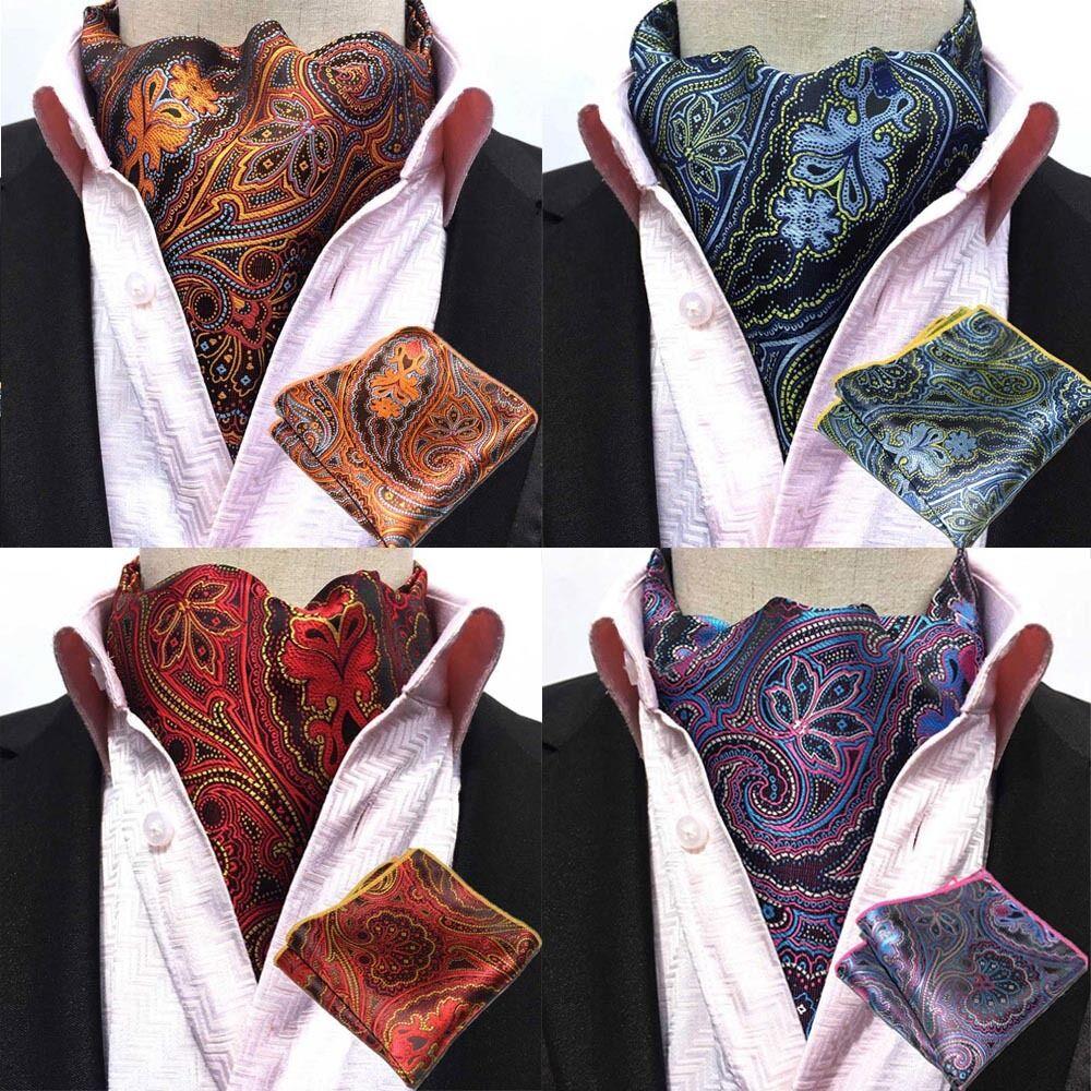 Men Classic Flower Paisley Cravat Ascot Necktie Matching Hanky Pocket Square Set HZTIE0240