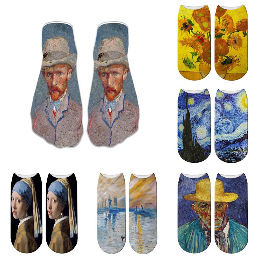 Van Gogh Oil Painting Women   Socks   Chic Art Funny Patterned Fashion Short   Socks   Classical Unique Cool Female   Socks   5ZWS28