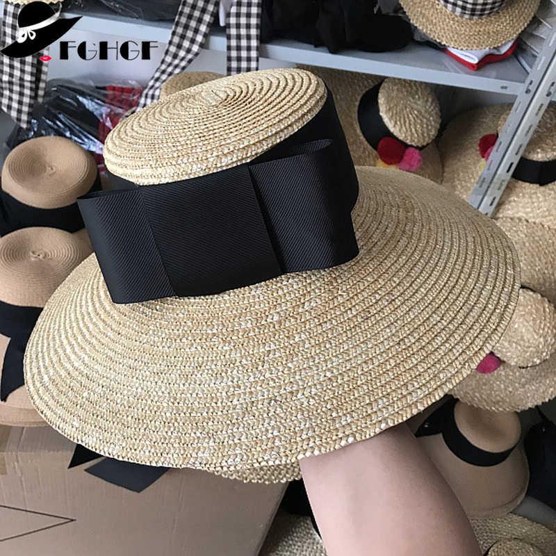 FGHGF elegante mujer sombrero de paja de ala ancha Floppy verano sombrero  de sol vacaciones Boater 7d199ff66b0