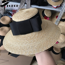 Elegant Women Wide Brim Straw Hat Floppy Summer Sun Hat Holiday Boater Beach Hat Cap Band Bow Kentucky Derby Hat SombreroS
