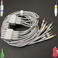 Compatible with Mortara 250C Holter ECG adapter Cable patient EKG 10 leads Banana 4.0mm plug leadwire IEC or AHA