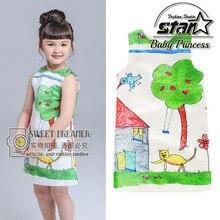 Baby Girls Dress Christmas 2016 Brand Princess Dress for Girls Clothes Graffiti Pattern Designer Kids Dresses Children Clothing