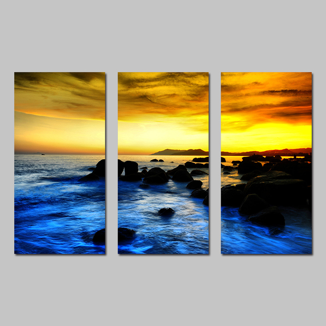 Modern Gold Sky Blue Sea Seascape Landscape Decoration Wall Art ...