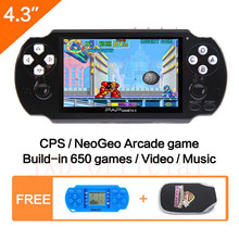 "64Bit Handheld Game Console 4.3"" Video Game Console Built-in 650 for CPS/NEOGEO/GBA/SNES/NES/SMD/SMS/GG Games Mp5 Player"