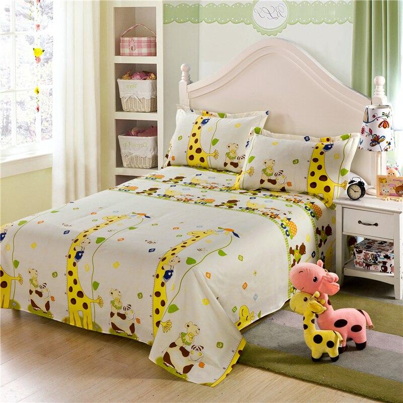 yellow giraffe cartoon kids children boys and girls 100 cotton bed sheets pillowcase bedding. Black Bedroom Furniture Sets. Home Design Ideas