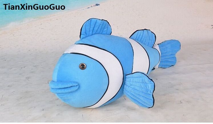large 52cm blue Clown fish plush toy,soft doll creative throw pillow birthday gift h2110