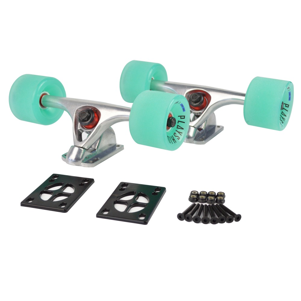 1 pair Longboard Skateboard Durable Magnesium Alloy Trucks Combo/70x51mm PU Wheels + 7 Truck for cruiser skate board longboard
