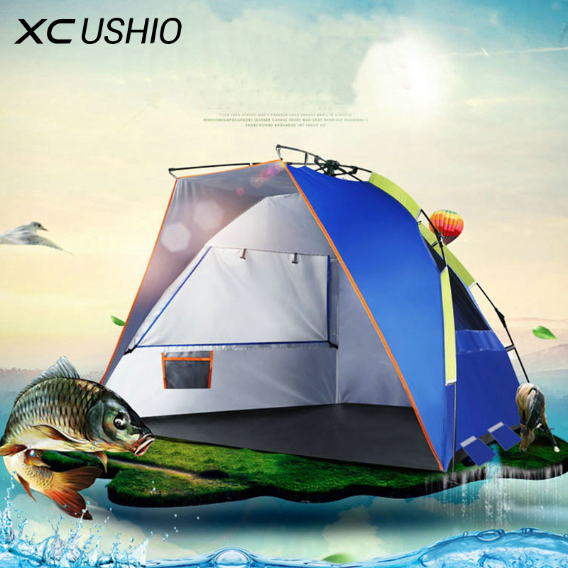 XC USHIO 2-4 Person Camping Tent Quick Automatic Opening Waterproof UV Protection Beach Tent Sunshade Awning for Fishing Picnic outdoor double layer awning beach tent sun shelter camping tent uv protection sunshade camping tent mat awning mat shelter