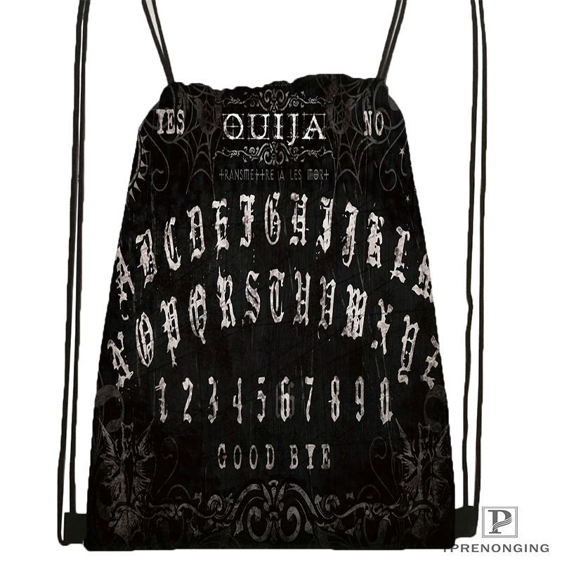 Custom Ouja Board Shirt Design Drawstring Backpack Bag Cute Daypack Kids Satchel (Black Back) 31x40cm#180531-04-50
