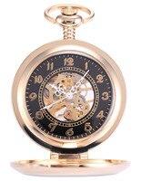 Nowy Steampunk Vintage Antique Złoty Lupa Mężczyźni Mechaniczny Zegarek Kieszonkowy + Łańcuch