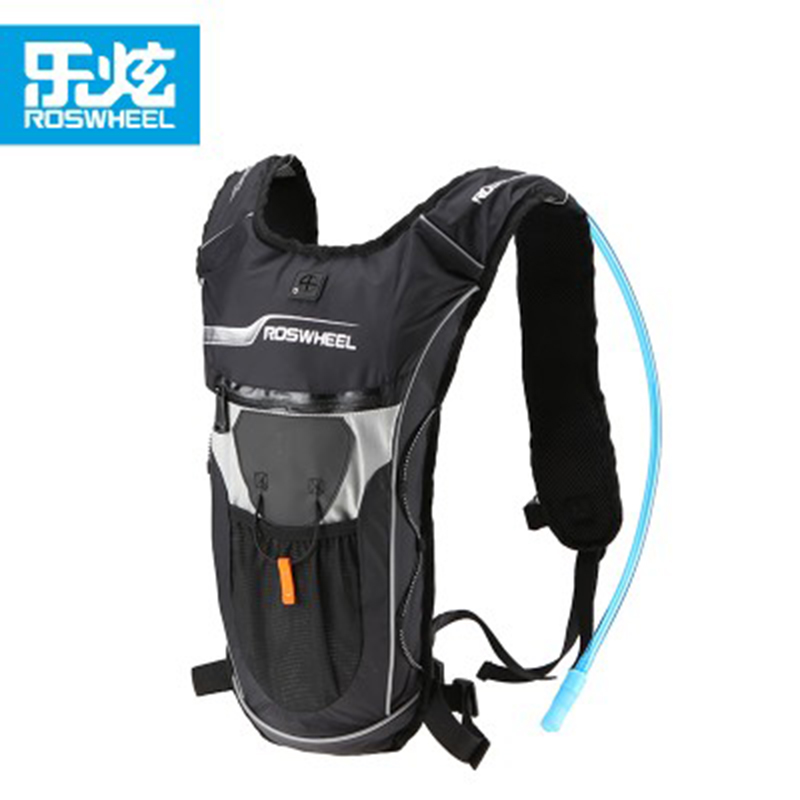 Roswheel MTB Road Bicycle Bike Bag 5L Ultralight Hiking Camping Cycling Backpack Mini Travel Shoulders Bag + 2L Straw Water Bag 12l cycling road backpack bike mountaineering rucksack water proof nylon running outdoor ultralight travel water bag helmet bag