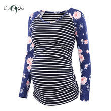 96a6afd11768f Pregnancy Blouse Side Ruched Maternity Clothes Raglan Sleeve Top Striped  Floral Mama Top O neck Pregnant Clothes for Women Tops