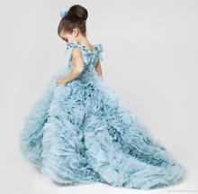 Cute Blue Flower Girls Dresses With Long Train Organza With Ruffles Ball Gown Pageant Dresses For Little Girls 2017 AF59