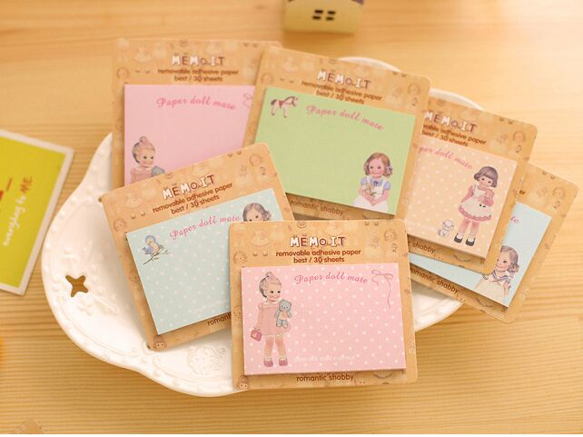 New Western doll Sticky Notes Self-Adhesive Memo Pad cute girl Post It Bookmark School Office Supply for student memo gift