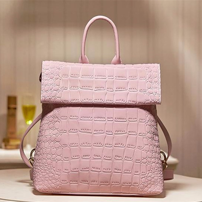2017 NEW Cow Leather Fashion Backpacks Bag Women Girls Boys Design Crocodile Pattern Cowhide Genuine Leather Schoolbag Satchels 2016 new fashion backpacks genuine leather soft bags women girls rhombus tassels zipper schoolbag satchels bagpack shoulder bag