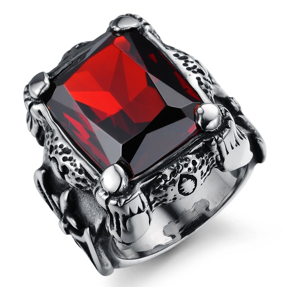 square s kinel men for mens vintage jewelry big ring man rings punk red product stones high glass quality style finger