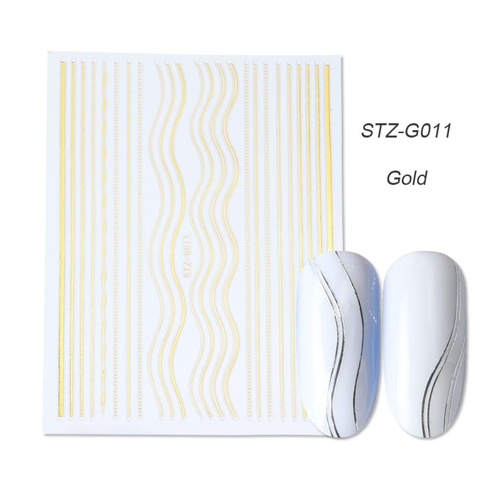 1 шт золотые Серебристые 3D наклейки для ногтей прямые изогнутые вкладыши полосы ленты обертывания геометрический дизайн ногтей украшения BESTZG001-013 - Цвет: STZ-G011 Gold