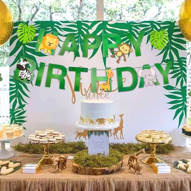 Happy Birthday Decorations Kids Banner Safari Jungle Party