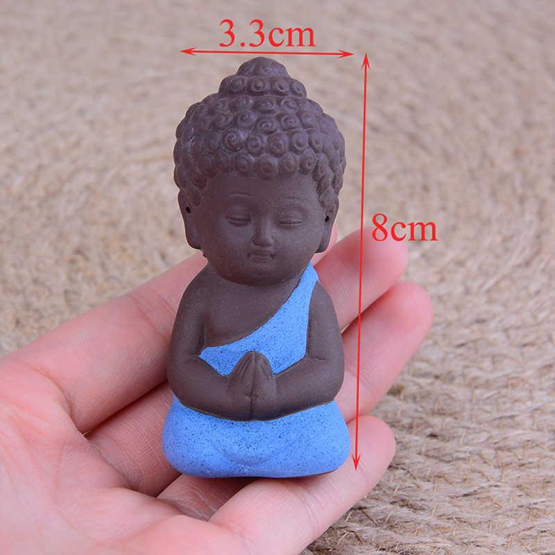 1 Pcs Mini Cina Buddhisme Zen Biksu Buddha Kecil Patung Kecil Meditasi Biarawan Miniatur Kerajinan Patung Buddha Tanah Liat