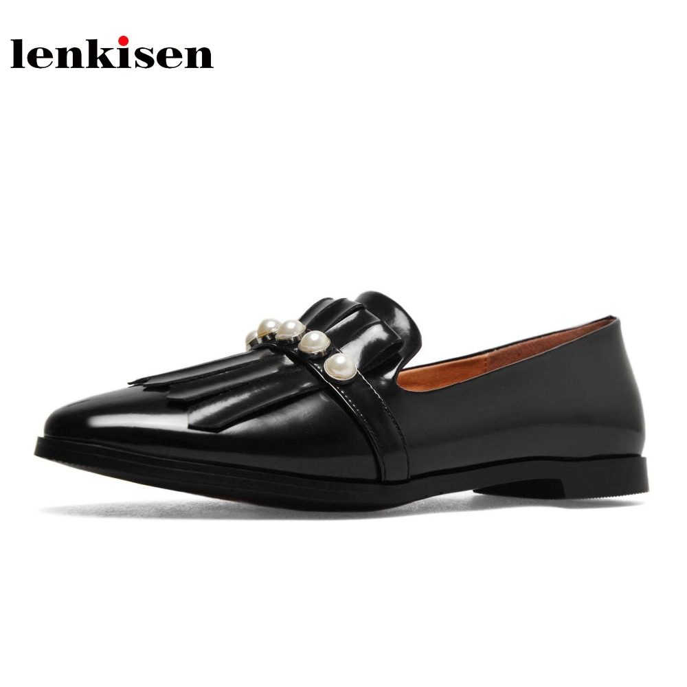 Lenkisen classic style solid low heels pearl tassel decoration causal shoes fashion round toe slip on handmade women pumps L9f5