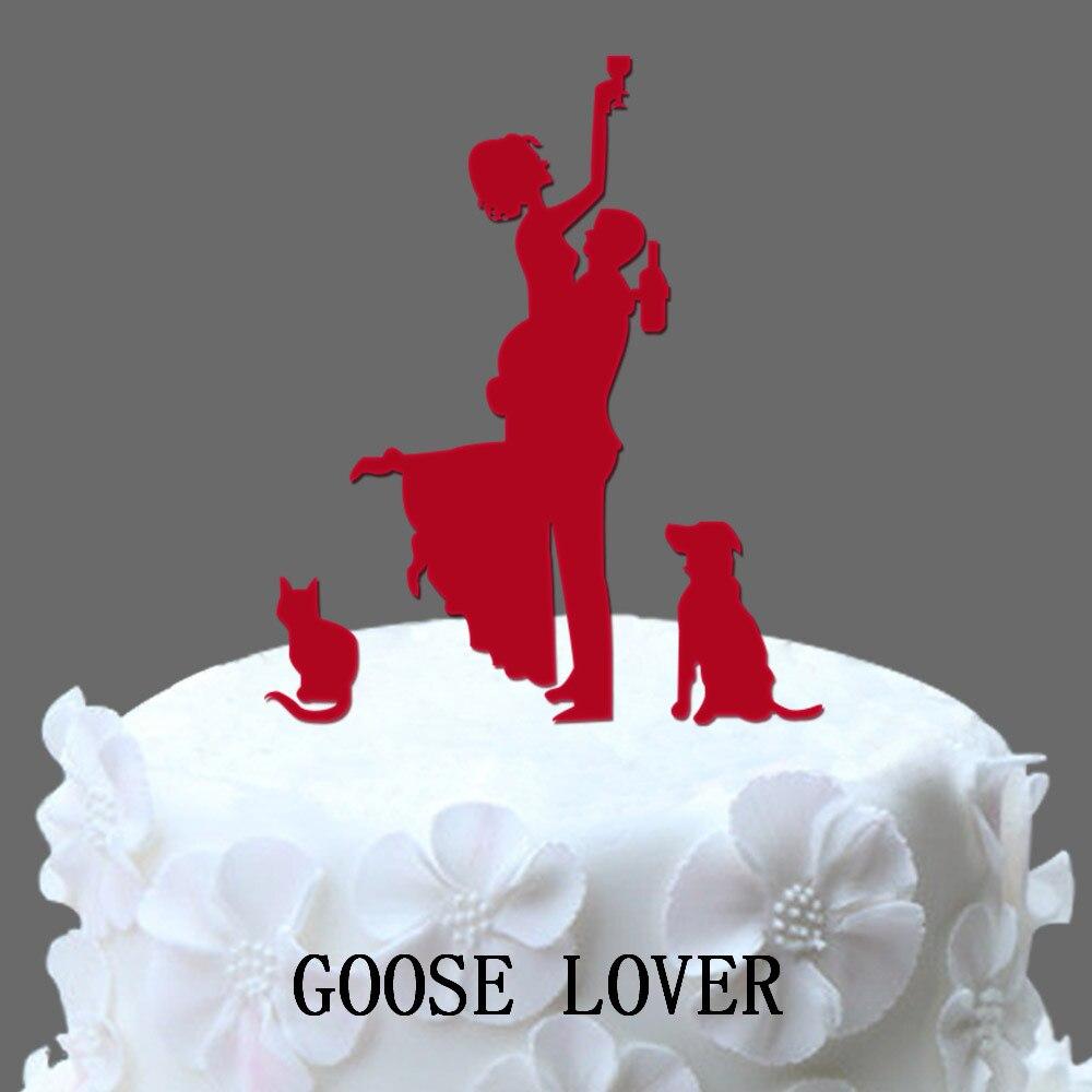 Funny Wedding Cake Topper Silhouette Dog Silhouette Wedding Cake