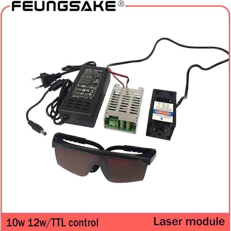 10w laser module TTL control 12w laser module for laser cutting machine 450nm power adjustable focal length 12v DC current 3-4A fiber laser module 10w ydflp 10 q1 fiber laser module 10w air cooling