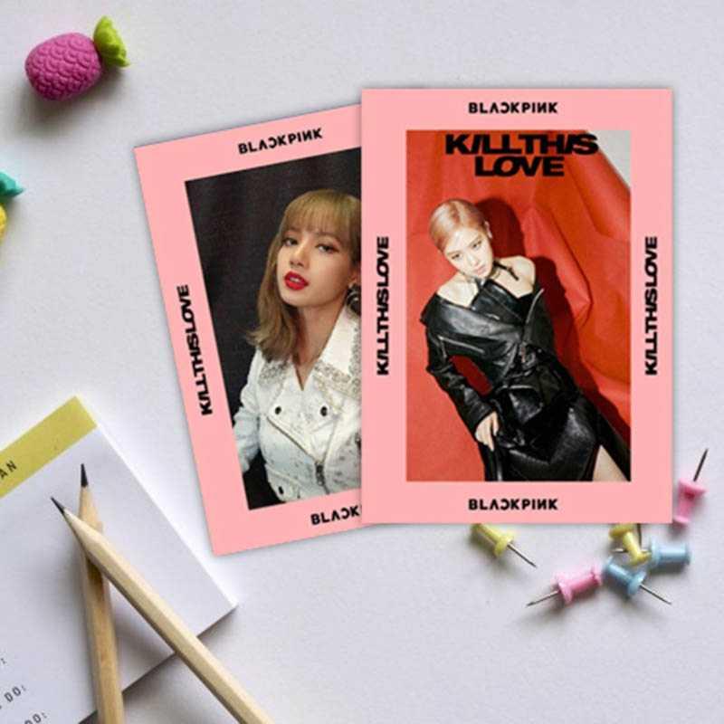 1 PC Kpop Blackpink Matar Esse Amor Foto Cartão Stikcy Jennie Lisa HD Photocard Nova Vinheta Álbum de Cristal Cartão de Etiqueta