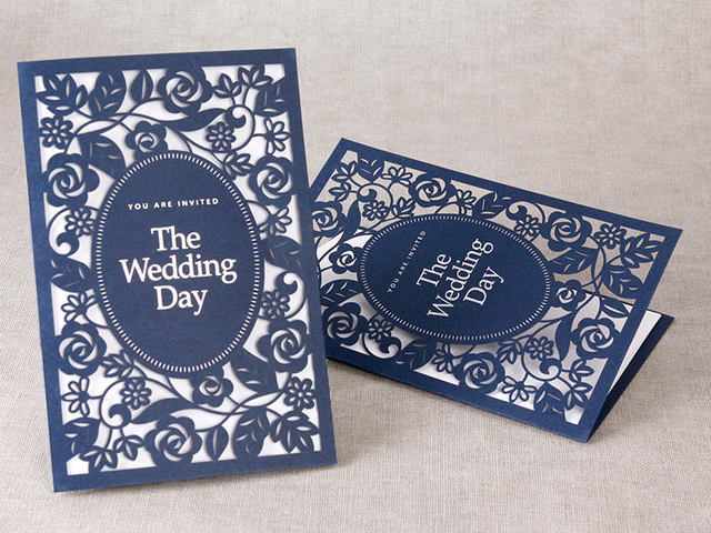 Elegant Monogram Wedding Invitations: 50pcs Personalized Blue Floral Laser Cut Elegant Wedding