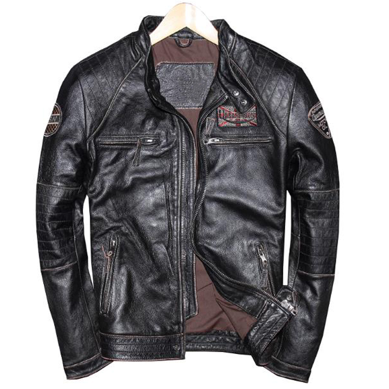 Plus Size 3XL 4XL Genuine Leather Bomber Jacket Suede For Men Motocycle Streetwear Male Real Leather Coats European Style A585