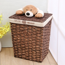 Laundry basket of dirty clothes with lid kid large straw storage rattan baskets cartoon bear corn husk woven box
